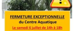 Aquadick : fermeture exceptionnelle samedi 6 juillet de 14h à 18h