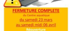 Aquadick : fermeture pour compétition et vidange