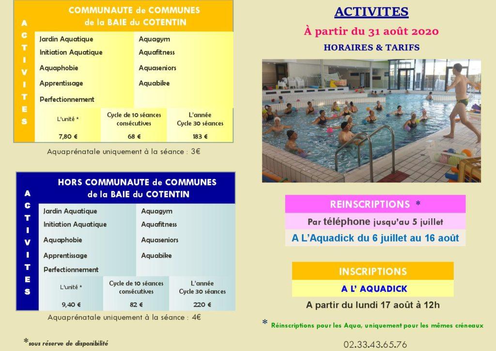 Fiche Mémo - 2020 - 2021 ACTIVITES à partir du 31 août 2020- Tarifs