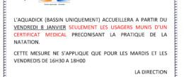 Ouverture des bassins de l'Aquadick aux usagers munis d'un certificat médical