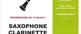 Saxophone – Clarinette : créneaux disponibles