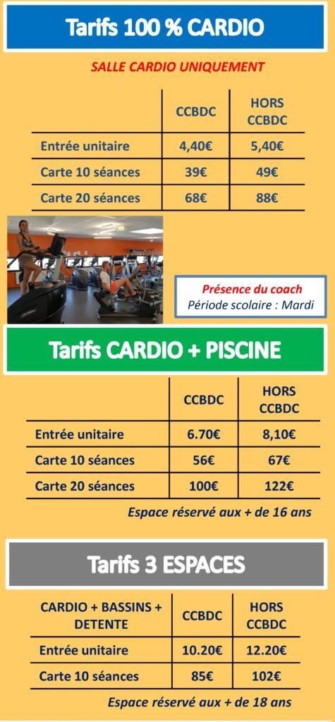 Tarifs cardio 100% et différents espaces