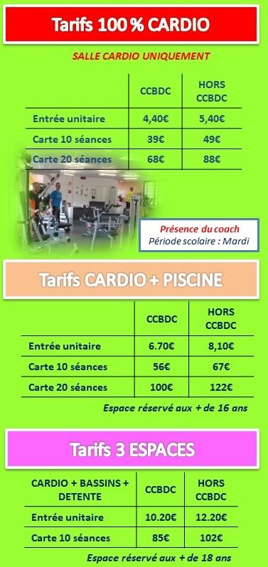cardio tarifs