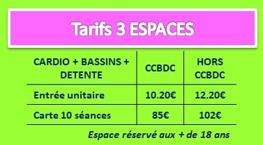 tarifs 3 espaces