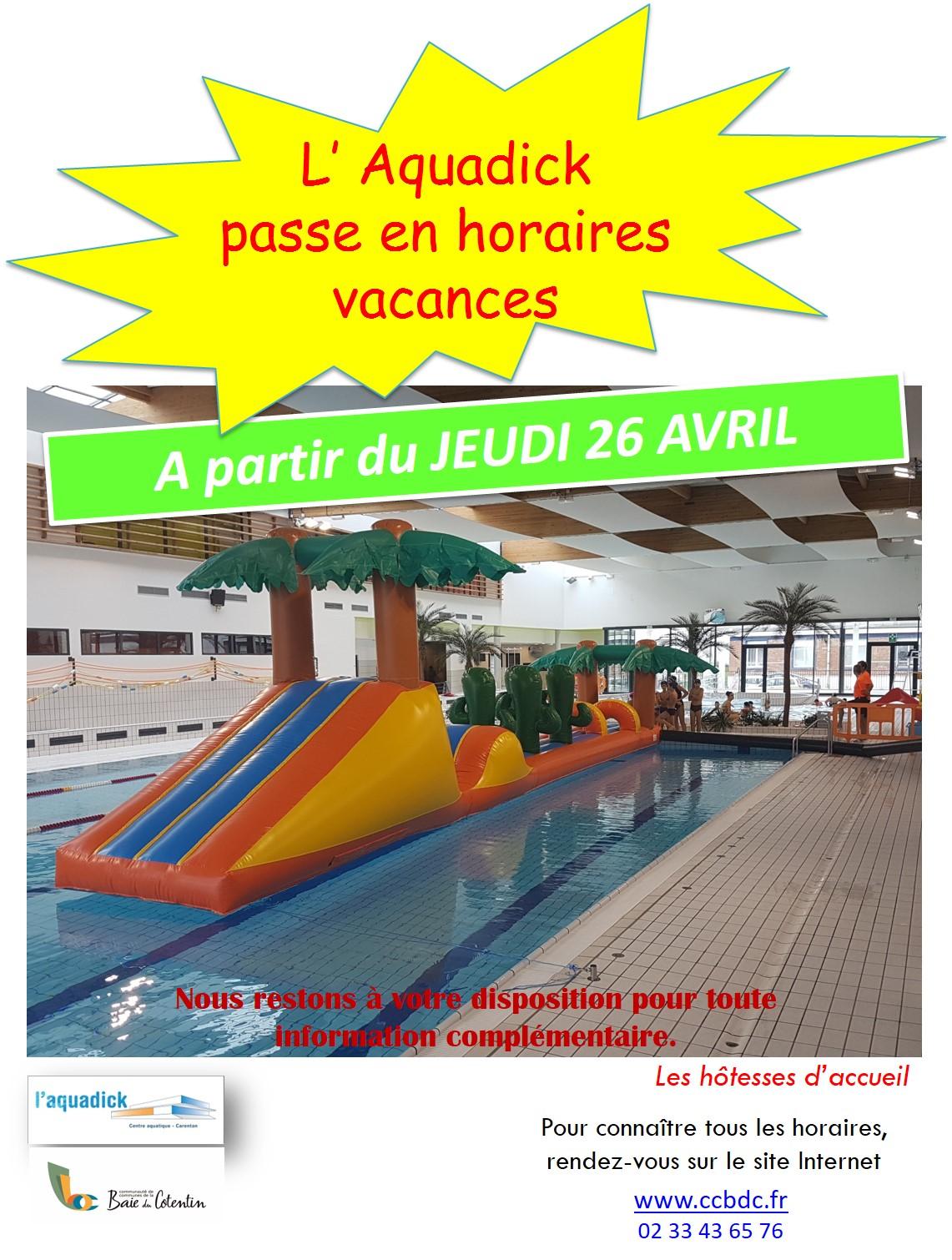 Passage horaires vacances - AVRIL 2018