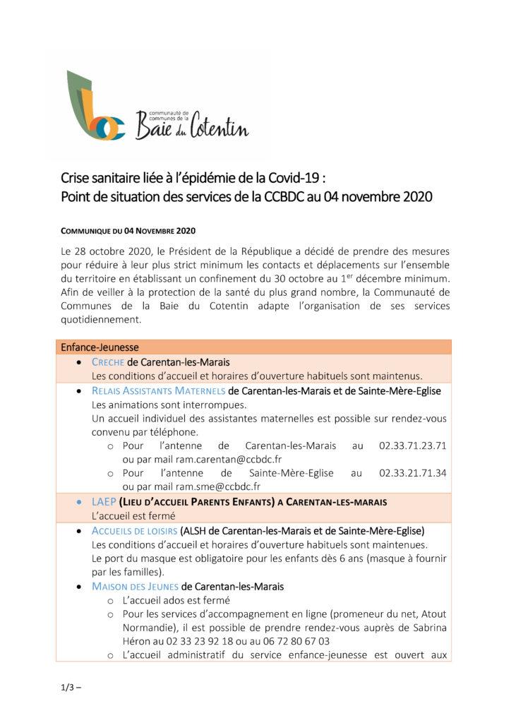 CORONAVIRUS - Communiqué de presse - Point de situation des services CCBDC - 04 11 20_Page_1