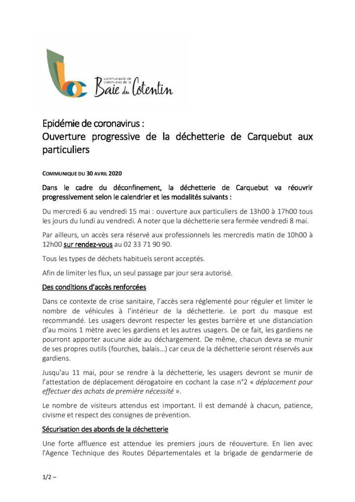 20200504_communiqué de presse_réouverture déchetterie de Carquebut-page-001